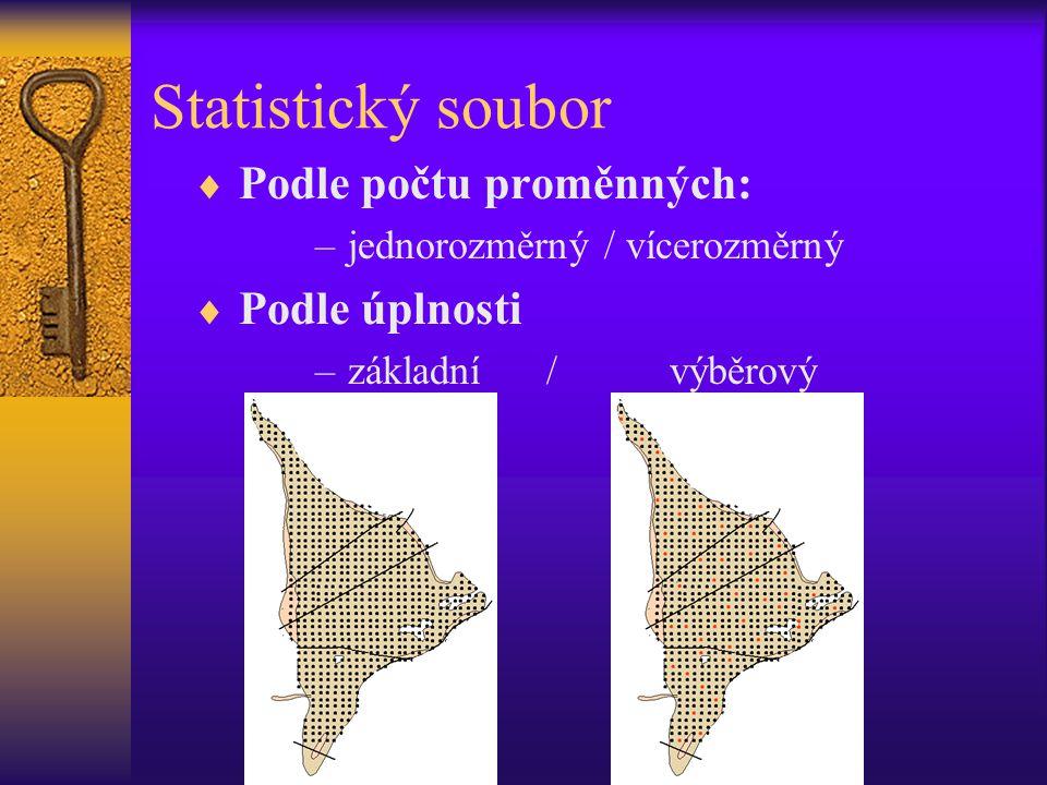 Statistický soubor Podle počtu proměnných: Podle úplnosti