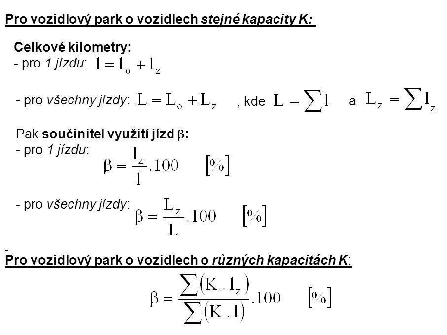 Pro vozidlový park o vozidlech stejné kapacity K: