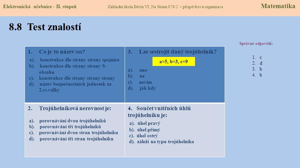 8.8 Test znalostí a). konstrukce dle strany strany spojnice
