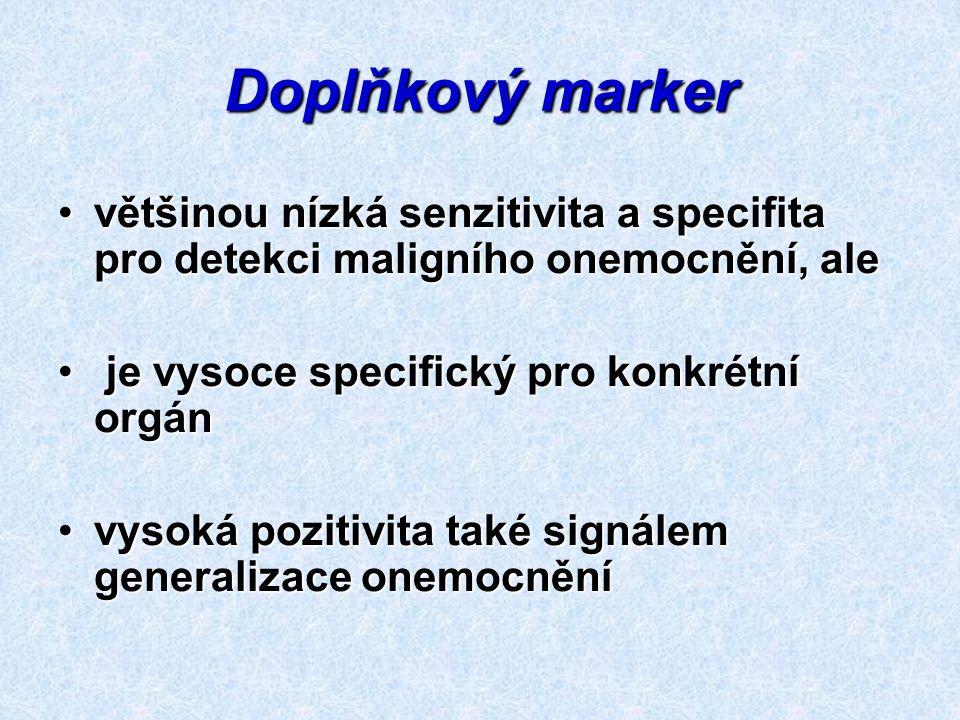 Doplňkový marker většinou nízká senzitivita a specifita pro detekci maligního onemocnění, ale. je vysoce specifický pro konkrétní orgán.