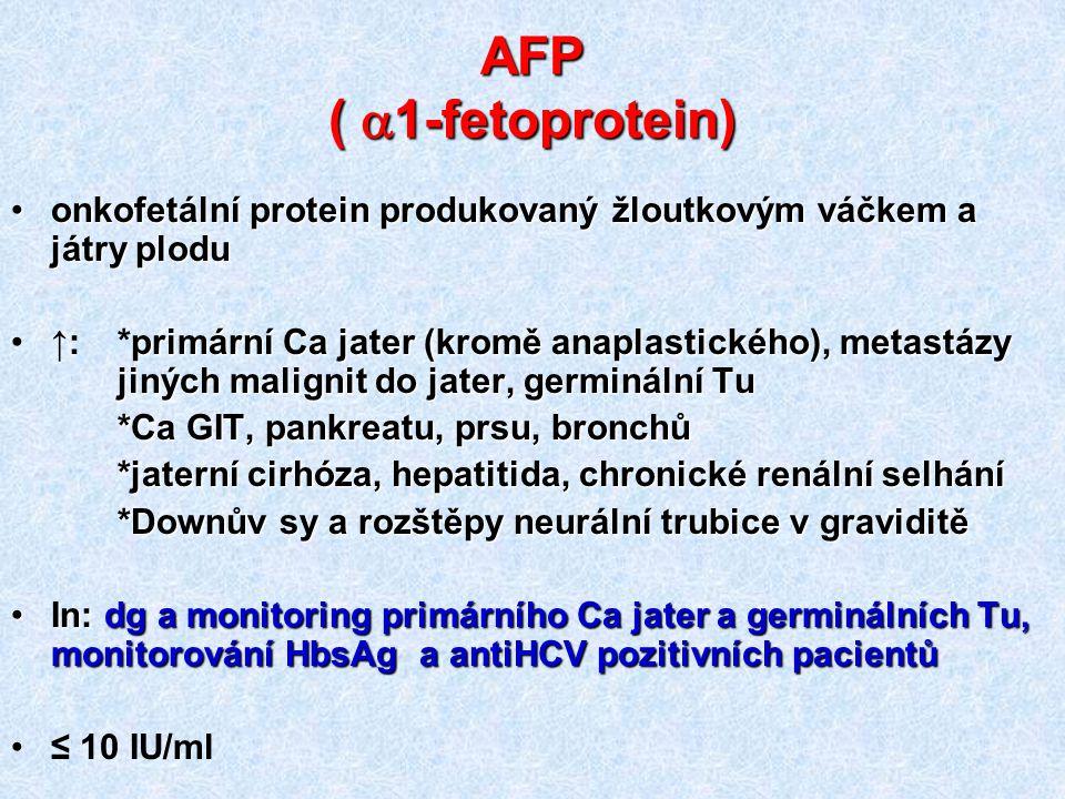 AFP ( a1-fetoprotein) onkofetální protein produkovaný žloutkovým váčkem a játry plodu.