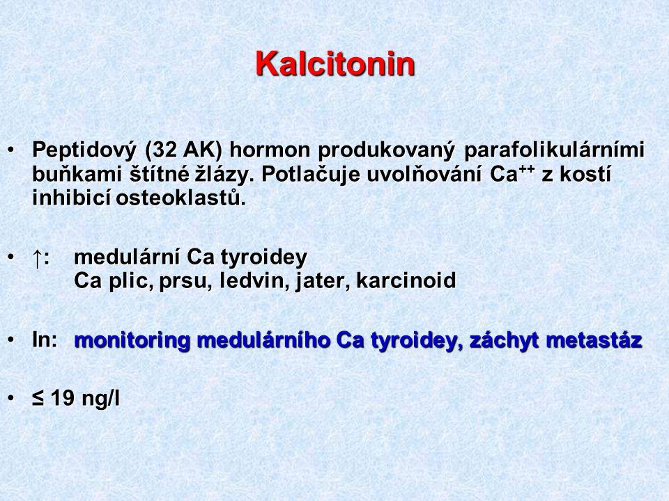 Kalcitonin Peptidový (32 AK) hormon produkovaný parafolikulárními buňkami štítné žlázy. Potlačuje uvolňování Ca++ z kostí inhibicí osteoklastů.