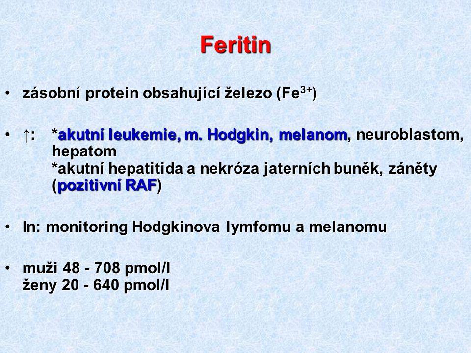 Feritin zásobní protein obsahující železo (Fe3+)