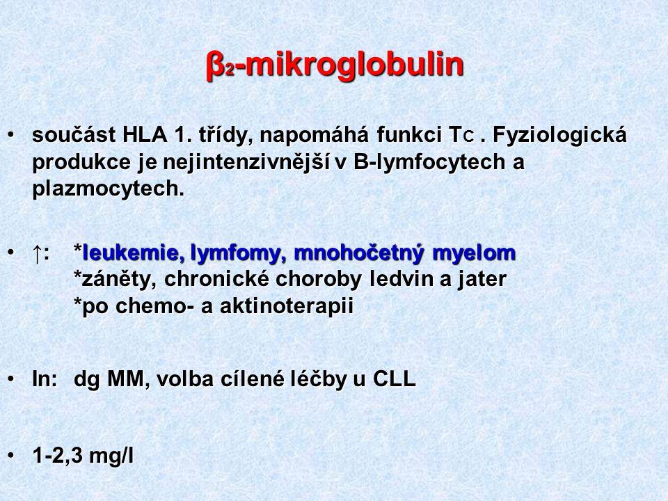 β2-mikroglobulin součást HLA 1. třídy, napomáhá funkci TC . Fyziologická produkce je nejintenzivnější v B-lymfocytech a plazmocytech.