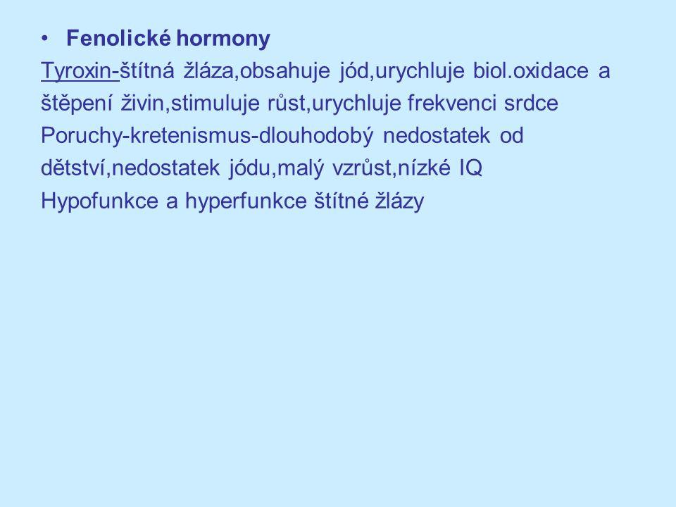 Fenolické hormony Tyroxin-štítná žláza,obsahuje jód,urychluje biol.oxidace a. štěpení živin,stimuluje růst,urychluje frekvenci srdce.