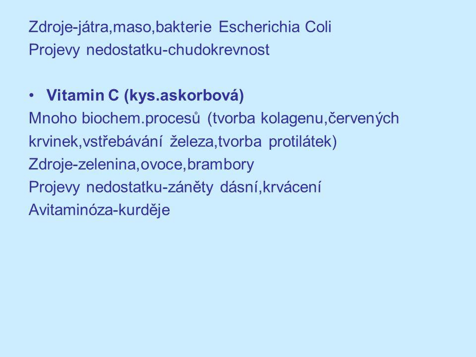 Zdroje-játra,maso,bakterie Escherichia Coli