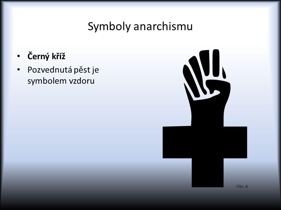 Symboly anarchismu Černý kříž Pozvednutá pěst je symbolem vzdoru