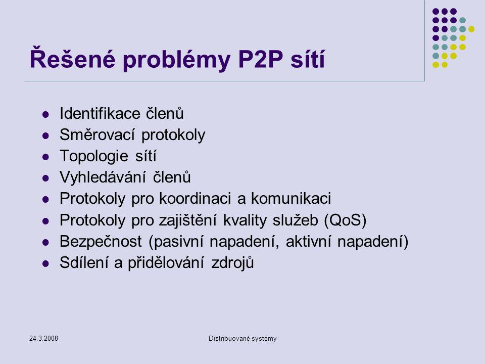 Řešené problémy P2P sítí