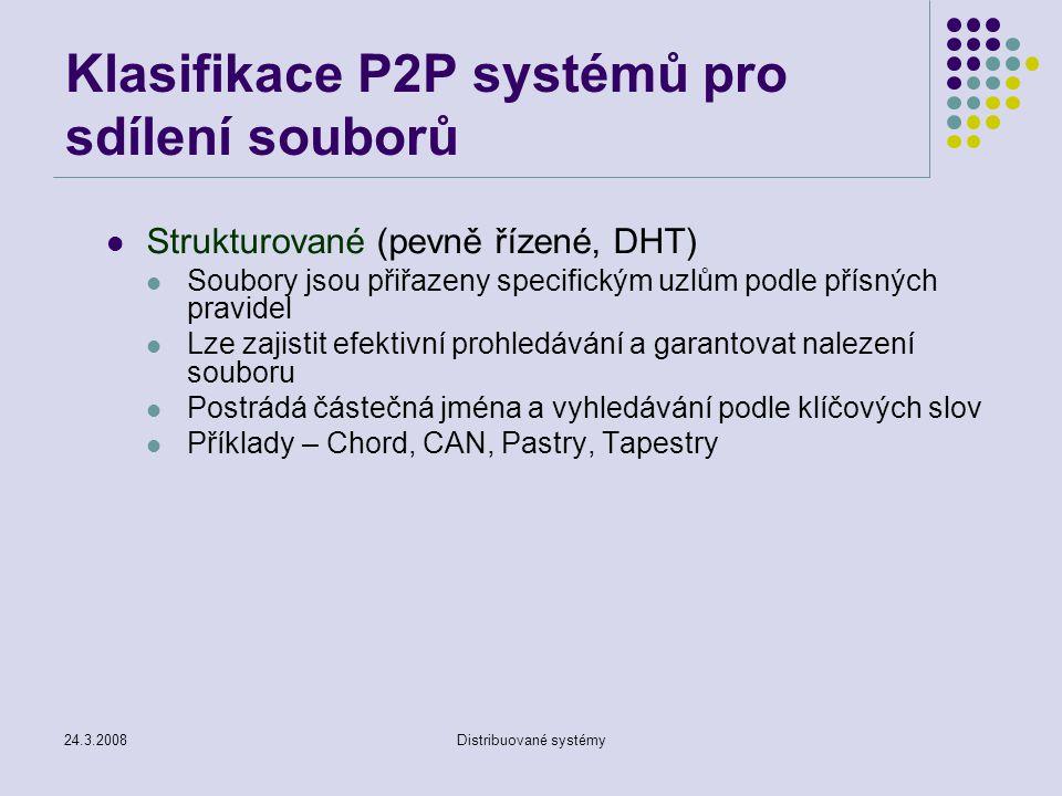 Klasifikace P2P systémů pro sdílení souborů