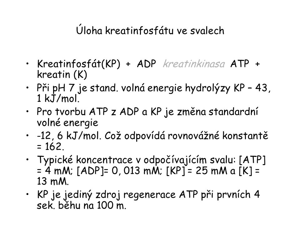 Úloha kreatinfosfátu ve svalech