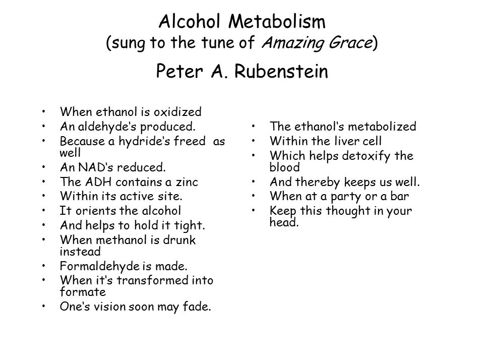 Alcohol Metabolism (sung to the tune of Amazing Grace) Peter A