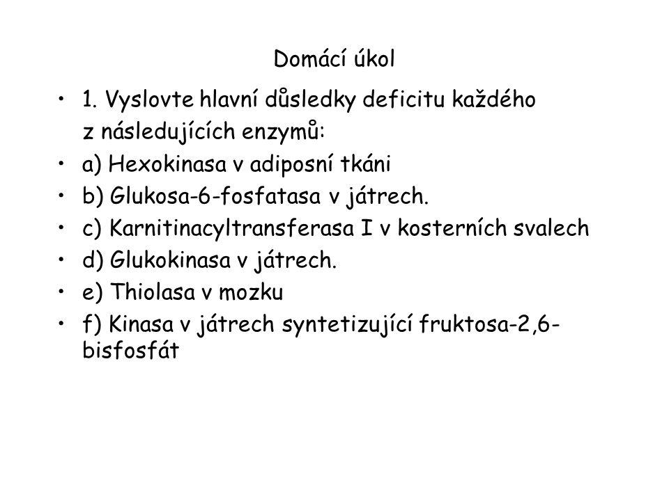 Domácí úkol 1. Vyslovte hlavní důsledky deficitu každého. z následujících enzymů: a) Hexokinasa v adiposní tkáni.