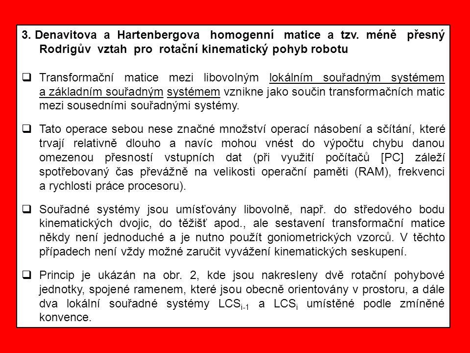3. Denavitova a Hartenbergova homogenní matice a tzv