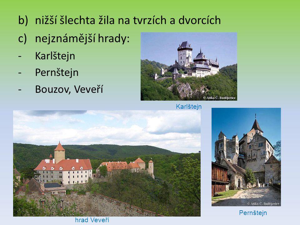 nižší šlechta žila na tvrzích a dvorcích nejznámější hrady: