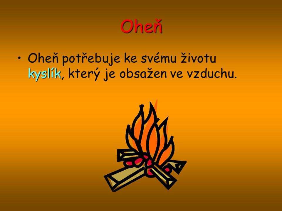 Oheň Oheň potřebuje ke svému životu kyslík, který je obsažen ve vzduchu.