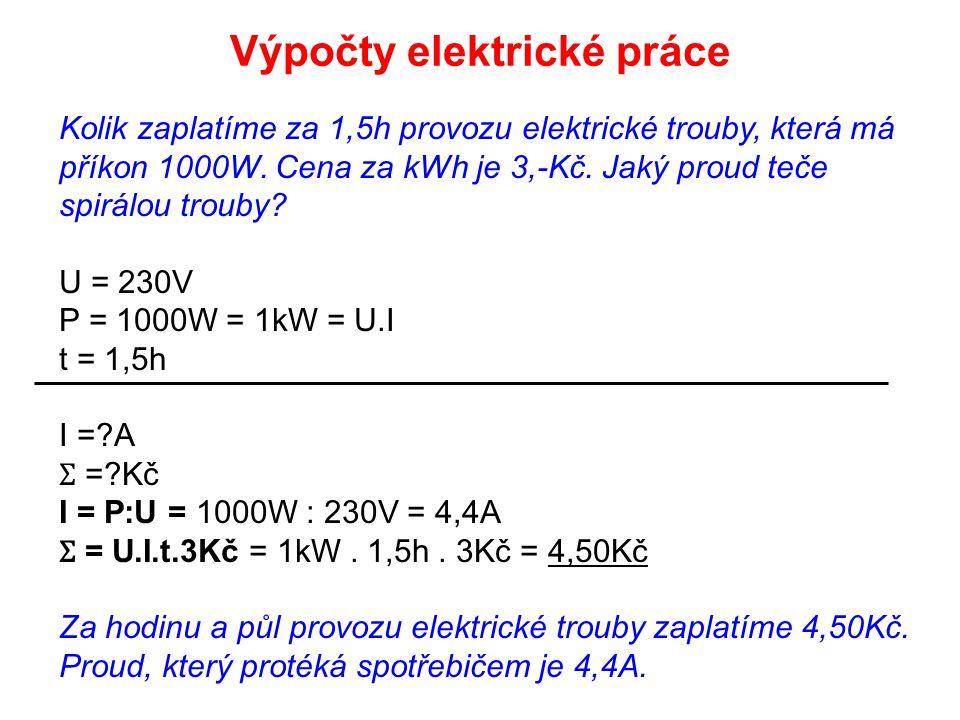Výpočty elektrické práce