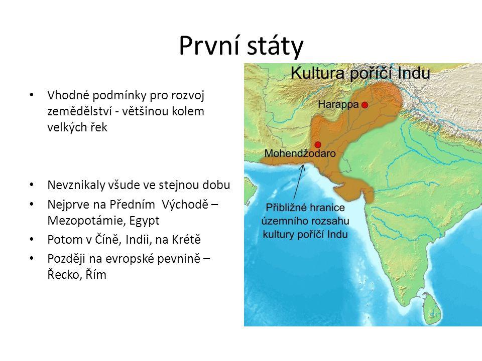 První státy Vhodné podmínky pro rozvoj zemědělství - většinou kolem velkých řek. Nevznikaly všude ve stejnou dobu.