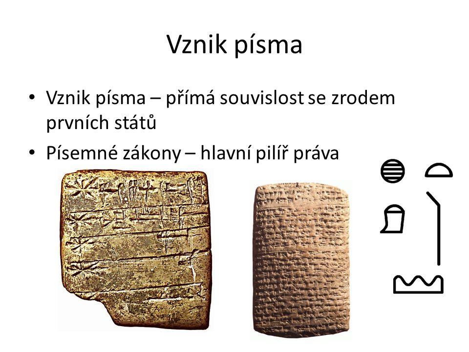Vznik písma Vznik písma – přímá souvislost se zrodem prvních států