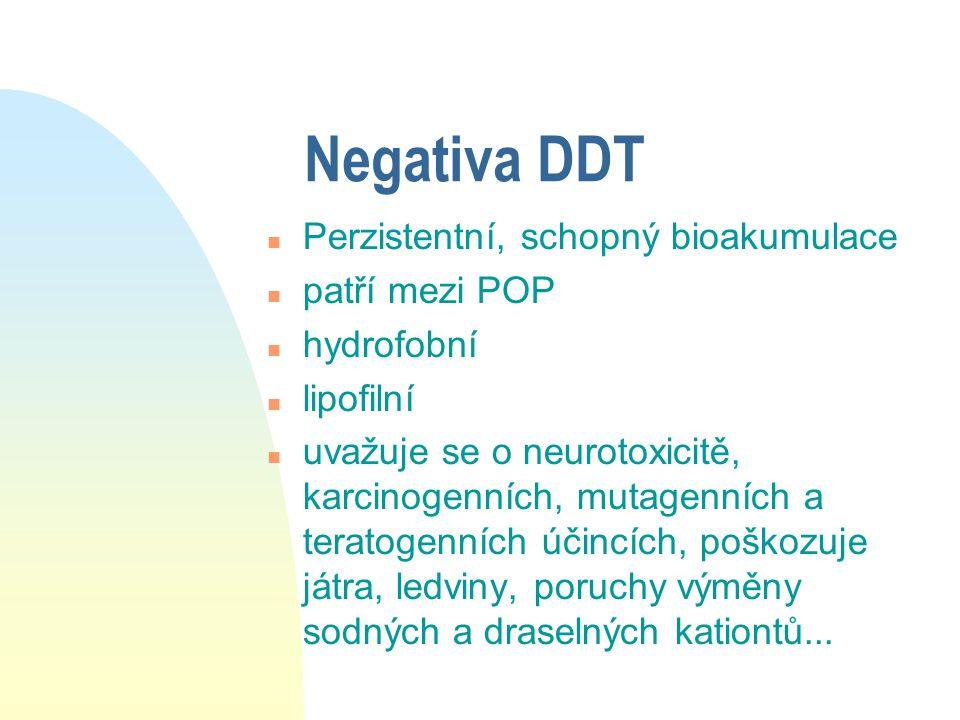 Negativa DDT Perzistentní, schopný bioakumulace patří mezi POP