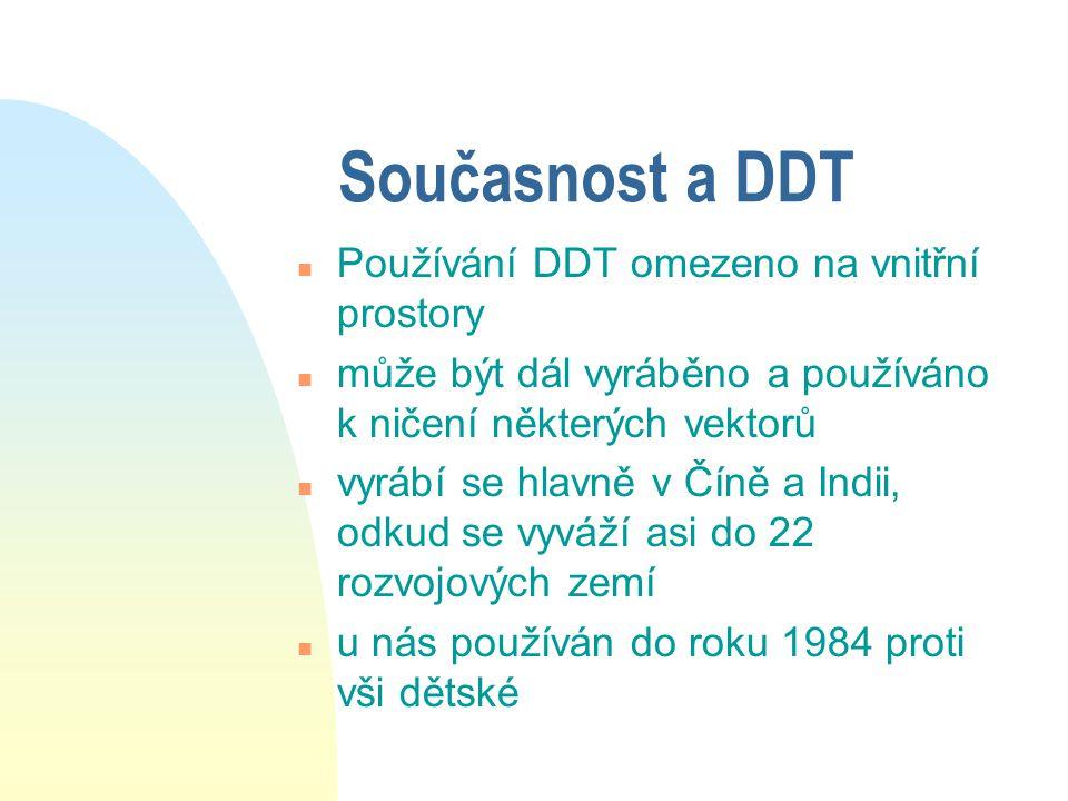 Současnost a DDT Používání DDT omezeno na vnitřní prostory