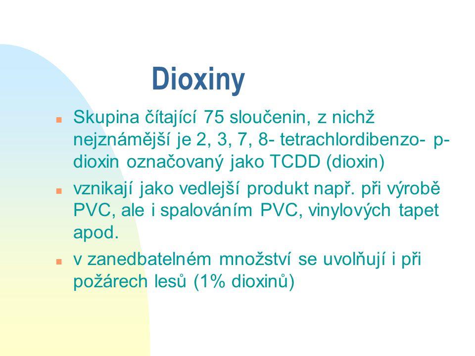 Dioxiny Skupina čítající 75 sloučenin, z nichž nejznámější je 2, 3, 7, 8- tetrachlordibenzo- p- dioxin označovaný jako TCDD (dioxin)