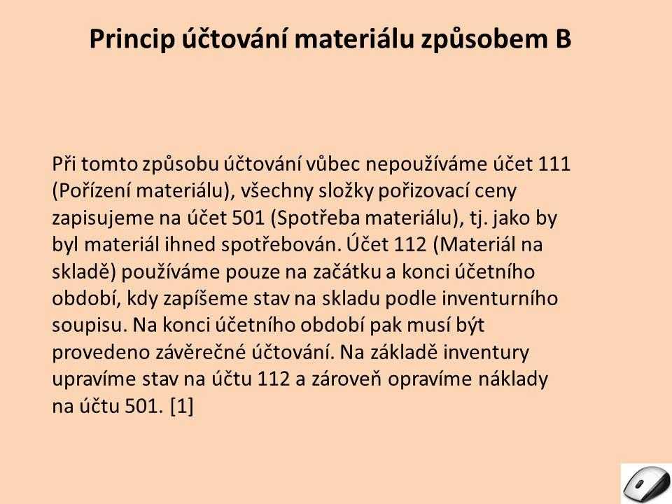 Princip účtování materiálu způsobem B