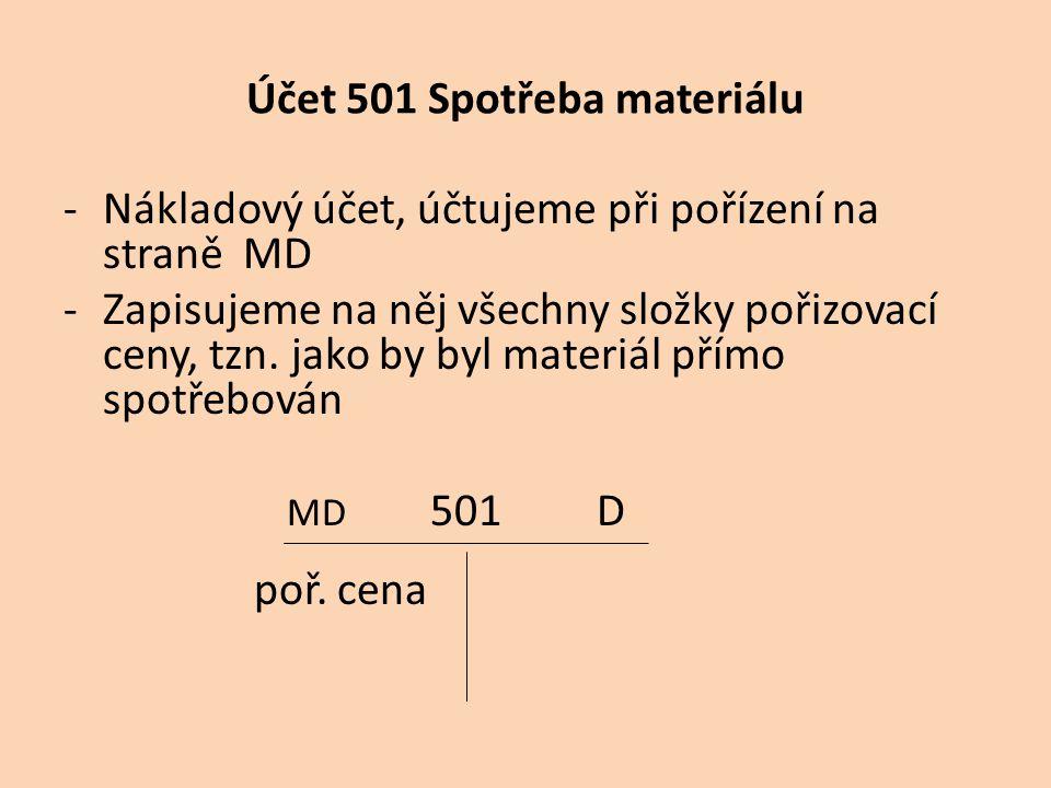 Účet 501 Spotřeba materiálu