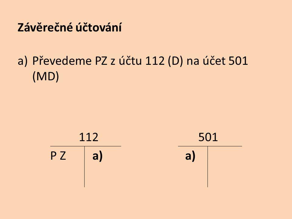 Převedeme PZ z účtu 112 (D) na účet 501 (MD)