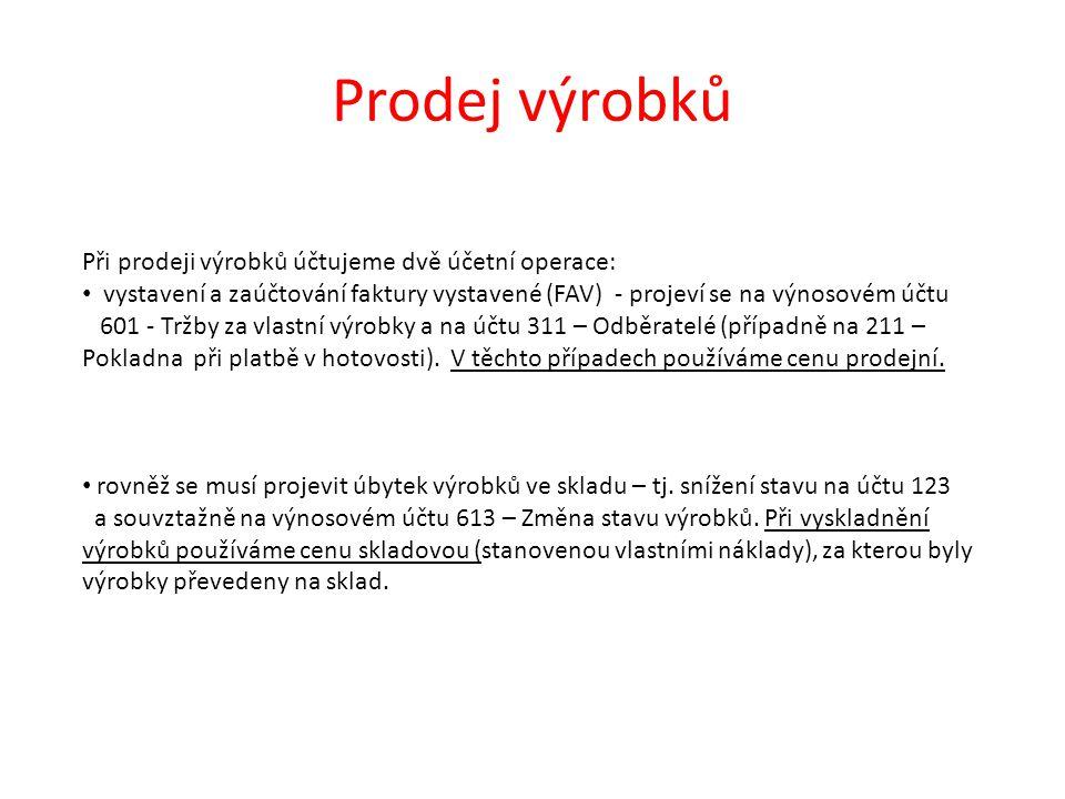 Prodej výrobků Při prodeji výrobků účtujeme dvě účetní operace: