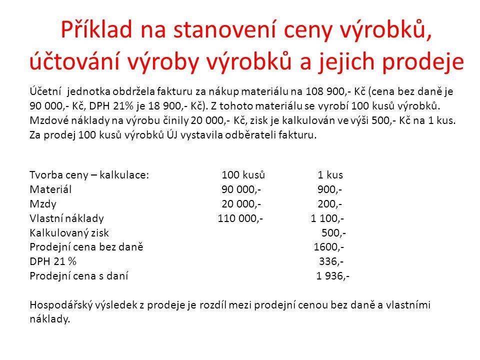 Příklad na stanovení ceny výrobků, účtování výroby výrobků a jejich prodeje