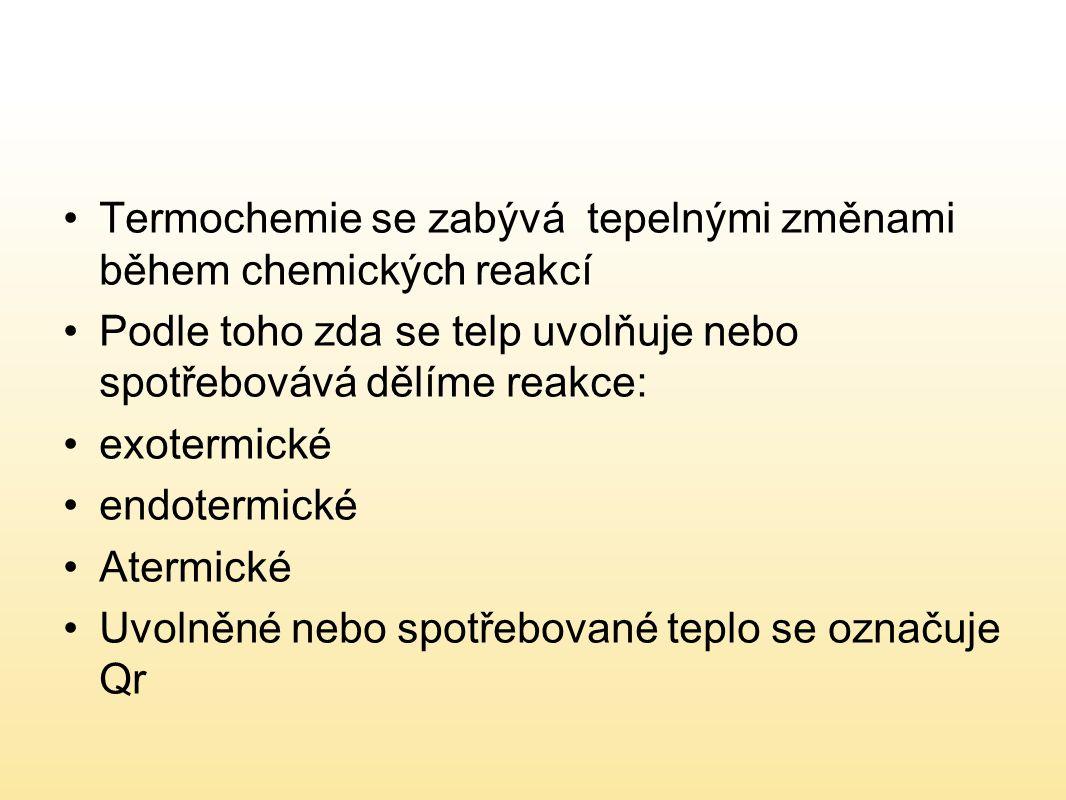 Termochemie se zabývá tepelnými změnami během chemických reakcí