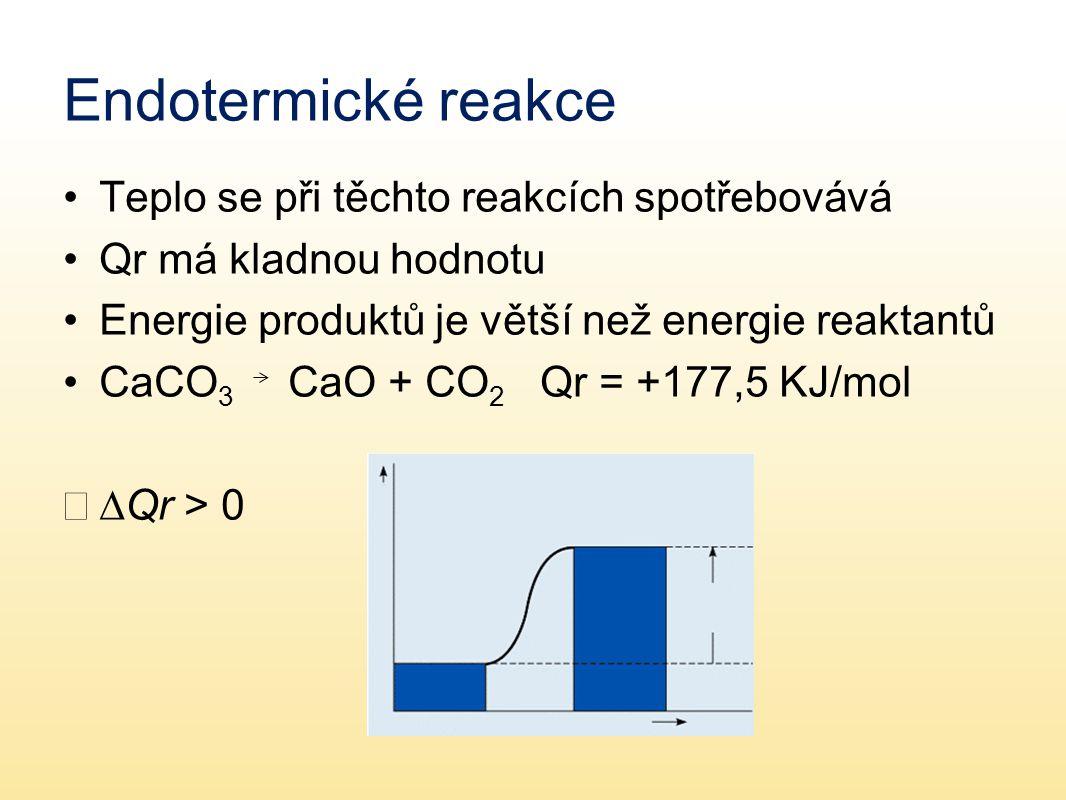 Endotermické reakce Teplo se při těchto reakcích spotřebovává