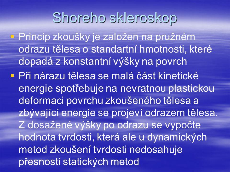Shoreho skleroskop Princip zkoušky je založen na pružném odrazu tělesa o standartní hmotnosti, které dopadá z konstantní výšky na povrch.