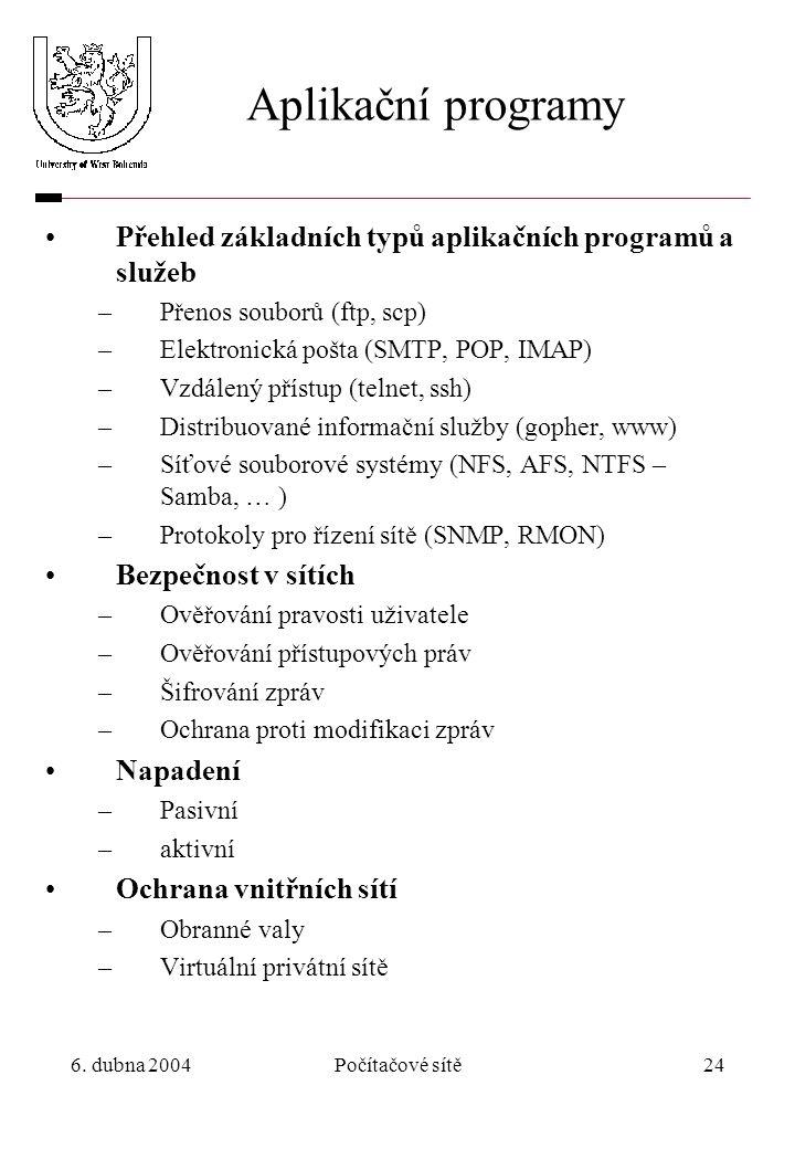 Aplikační programy Přehled základních typů aplikačních programů a služeb. Přenos souborů (ftp, scp)