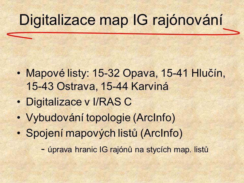 Digitalizace map IG rajónování