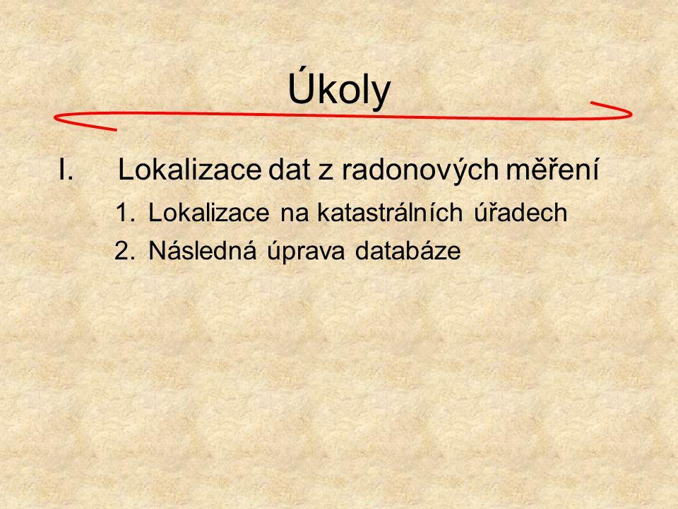 Úkoly Lokalizace dat z radonových měření