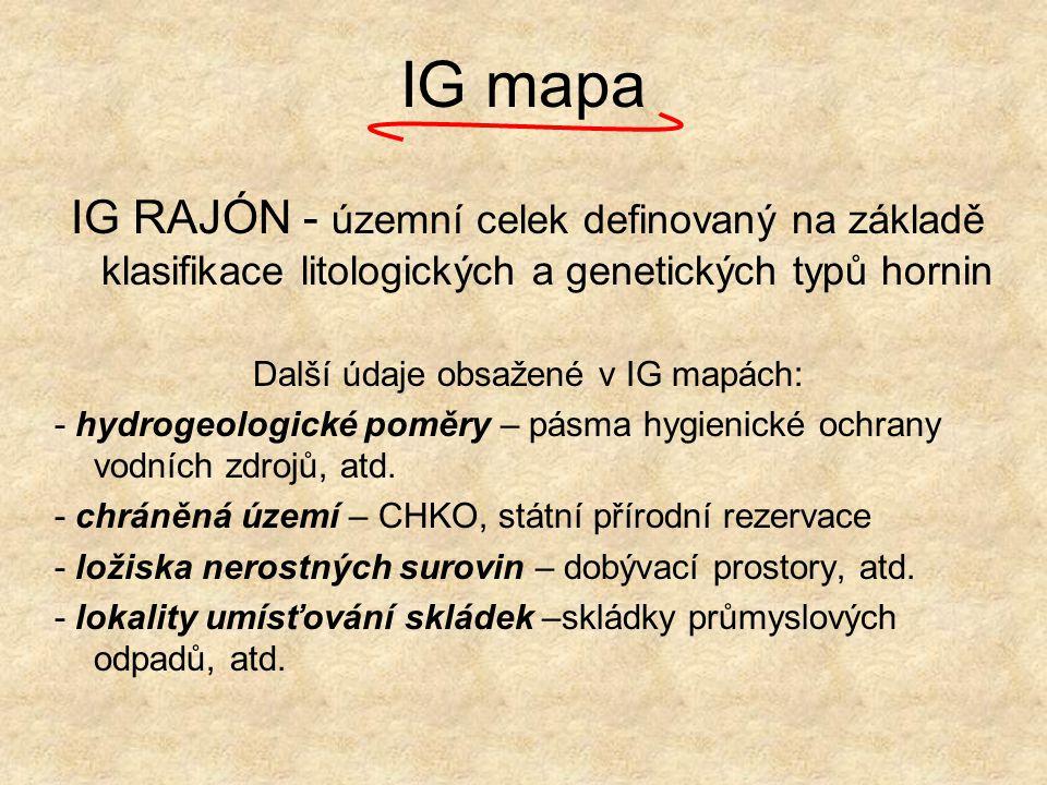 Další údaje obsažené v IG mapách: