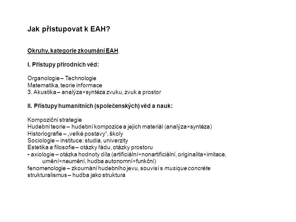 Jak přistupovat k EAH Okruhy, kategorie zkoumání EAH