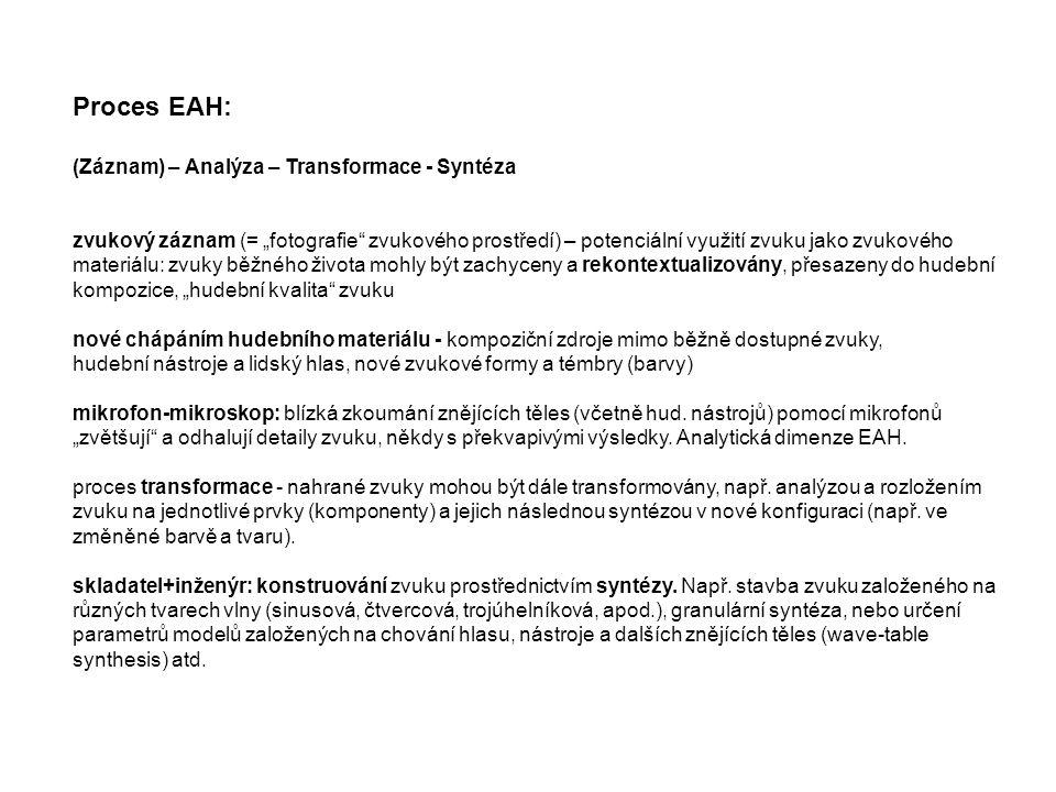 Proces EAH: (Záznam) – Analýza – Transformace - Syntéza