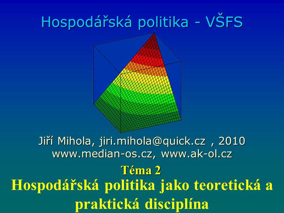 Hospodářská politika jako teoretická a praktická disciplína