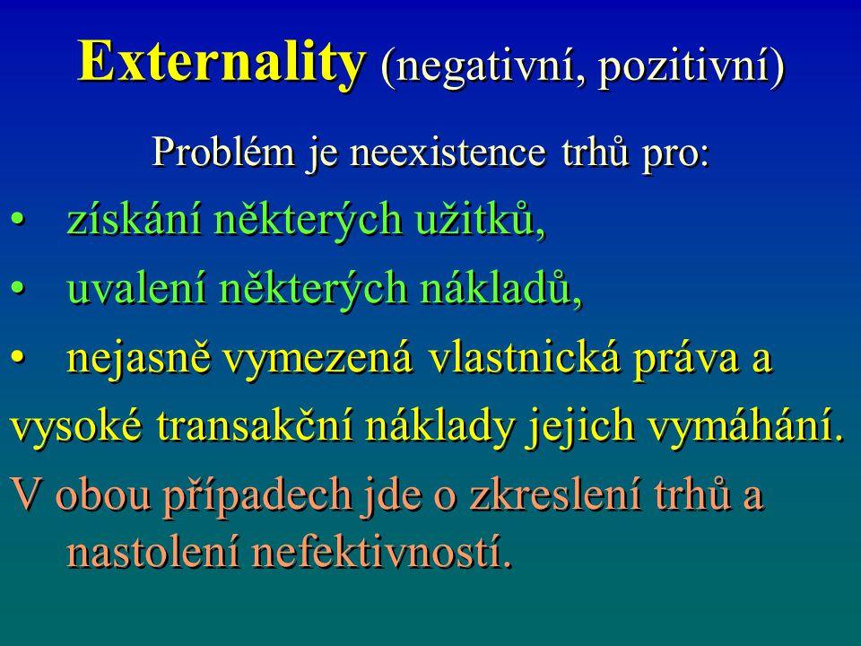 Externality (negativní, pozitivní)