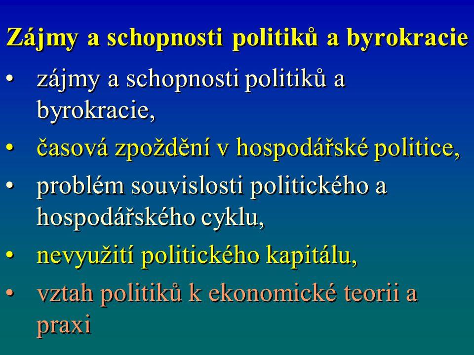 Zájmy a schopnosti politiků a byrokracie