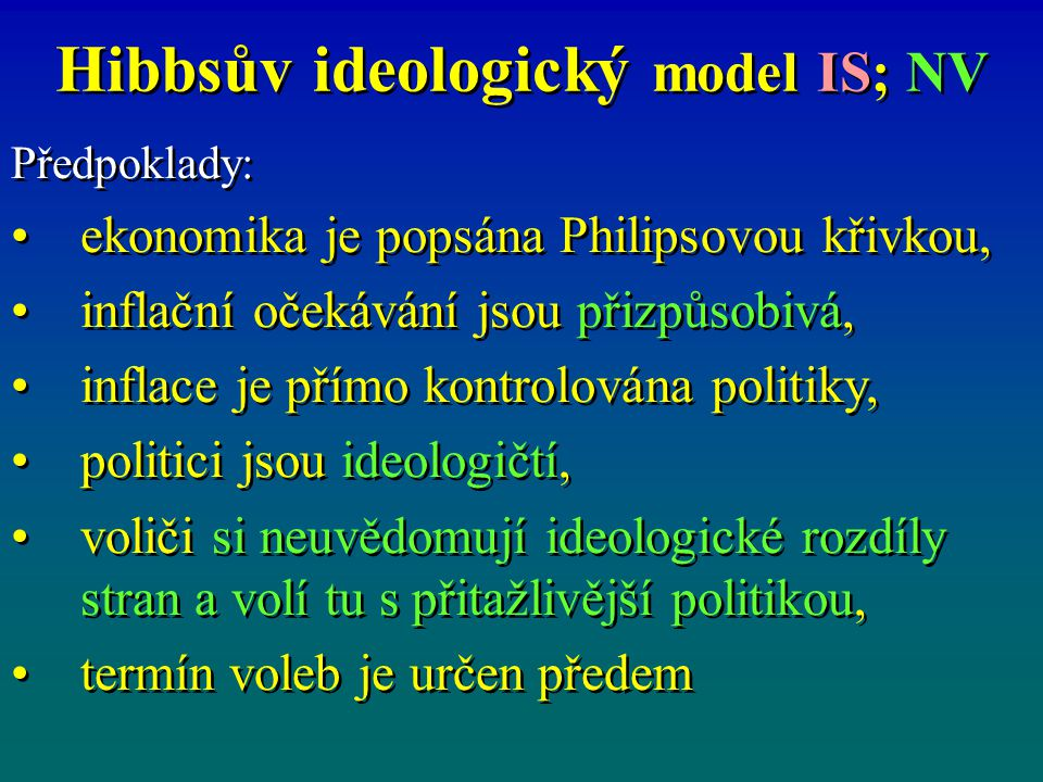 Hibbsův ideologický model IS; NV