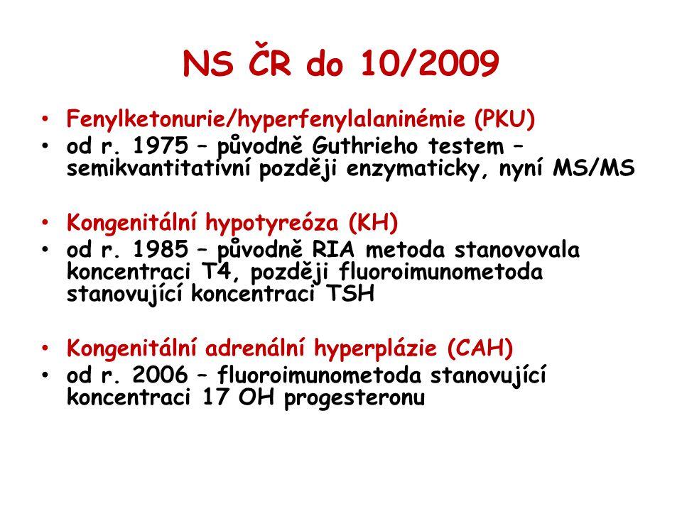 NS ČR do 10/2009 Fenylketonurie/hyperfenylalaninémie (PKU)