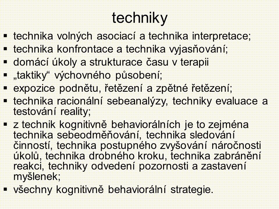 techniky technika volných asociací a technika interpretace;