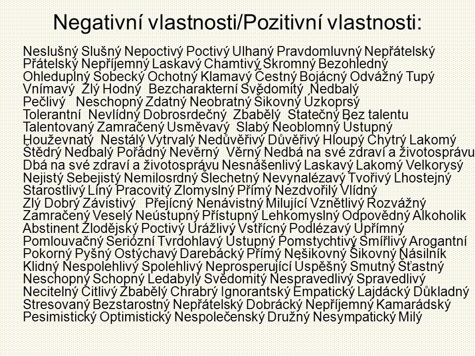 Negativní vlastnosti/Pozitivní vlastnosti: