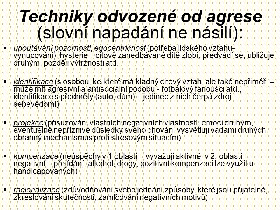 Techniky odvozené od agrese (slovní napadání ne násilí):