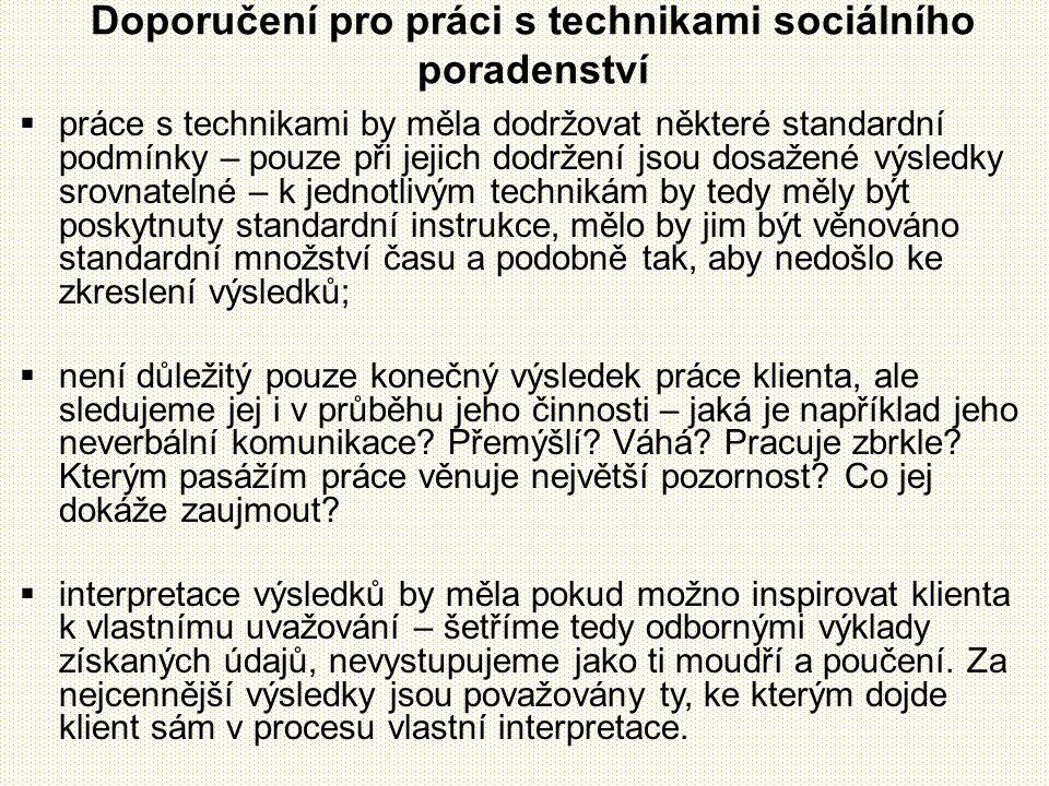 Doporučení pro práci s technikami sociálního poradenství