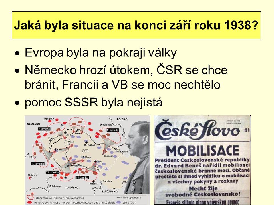 Jaká byla situace na konci září roku 1938