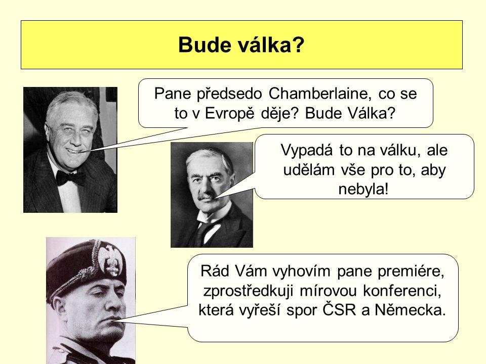 Bude válka Pane předsedo Chamberlaine, co se to v Evropě děje Bude Válka Vypadá to na válku, ale udělám vše pro to, aby nebyla!